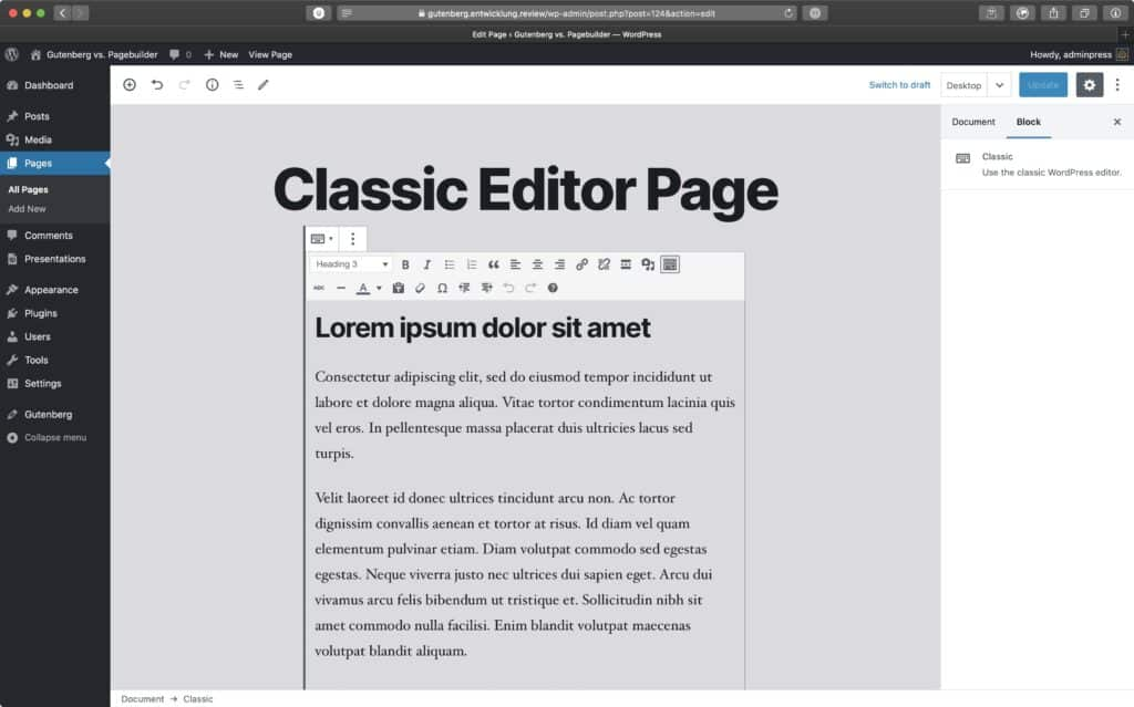 Screenshot of the Classic Block in Gutenberg Editor