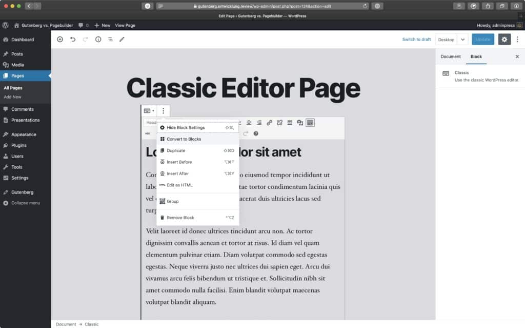 Screenshot of how to convert the classic editor block to single Gutenberg blocks
