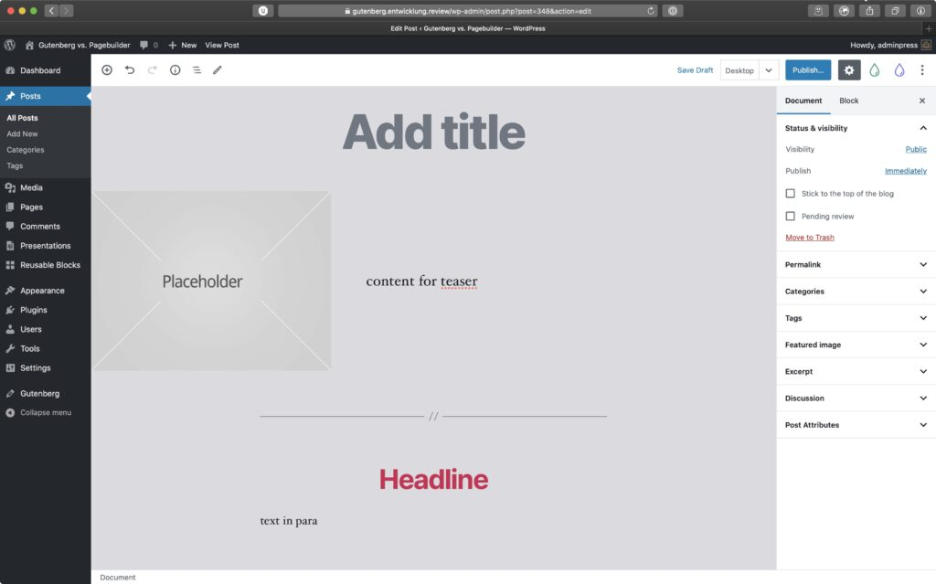 Screenshot of a Gutenberg block based layout for a blogpost